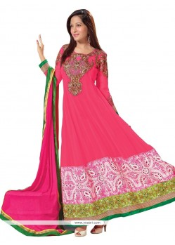 Hot Pink Faux Georgette Anarkali Suits