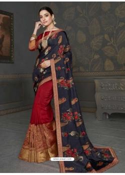 Multi Colour Designer Classic Wear Art Silk Sari