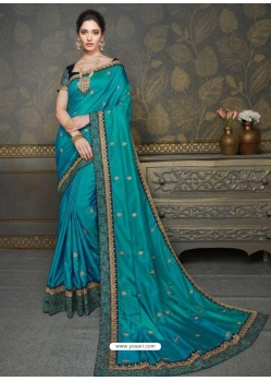 Blue Designer Classic Wear Art Silk Sari