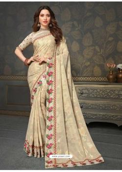 Light Beige Designer Classic Wear Art Silk Sari