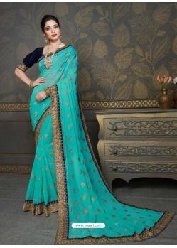 Firozi Designer Classic Wear Art Silk Sari
