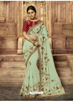 Sea Green Latest Designer Wedding Wear Sari