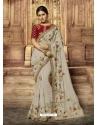 Light Grey Latest Designer Wedding Wear Sari