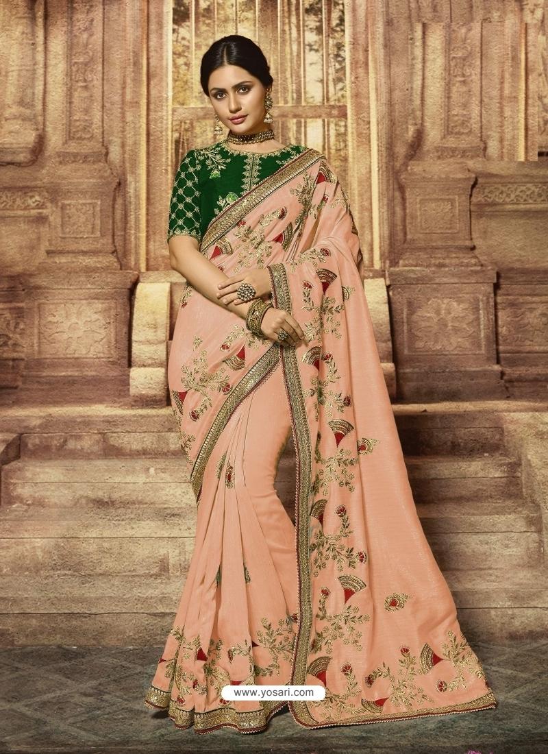 Light Orange Latest Designer Wedding Wear Sari