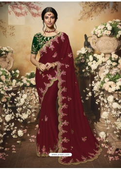 Maroon Latest Designer Wedding Wear Sari