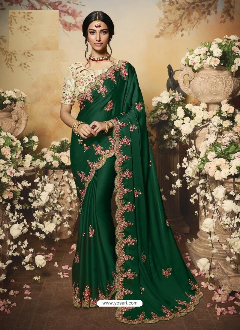 Dark Green Latest Designer Wedding Wear Sari