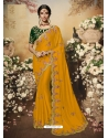 Mustard Latest Designer Wedding Wear Sari