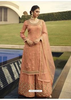 Light Orange Designer Party Wear Palazzo Pakistani Suit