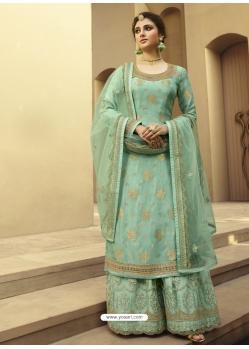 Sky Blue Designer Party Wear Palazzo Pakistani Suit