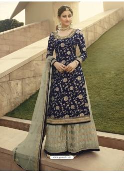 Dark Blue Designer Party Wear Palazzo Pakistani Suit