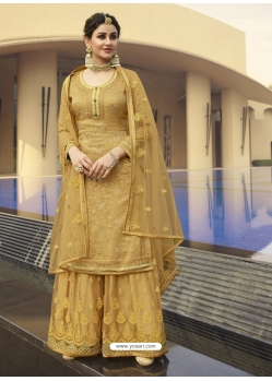 Mustard Designer Party Wear Palazzo Pakistani Suit