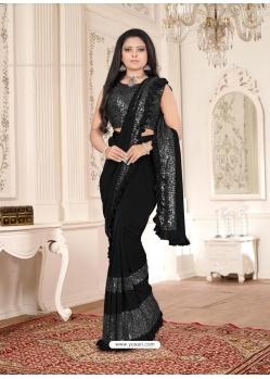 Black Designer Party Wear Imported Lycra Sari