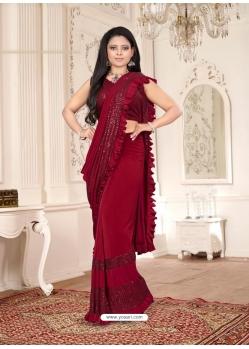 Maroon Designer Party Wear Imported Lycra Sari