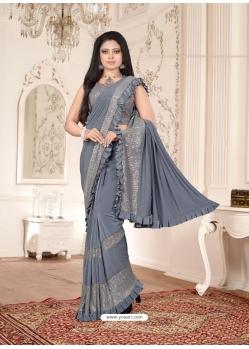 Grey Designer Party Wear Imported Lycra Sari