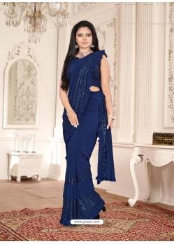 Dark Blue Designer Party Wear Imported Lycra Sari