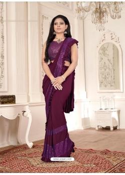 Deep Wine Designer Party Wear Imported Lycra Sari