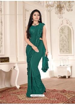 Dark Green Designer Party Wear Imported Lycra Sari