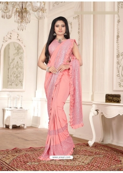 Peach Designer Party Wear Imported Lycra Sari