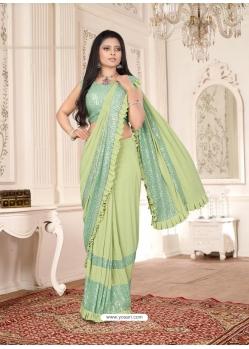Green Designer Party Wear Imported Lycra Sari