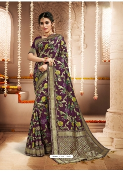 Purple Designer Party Wear Heavy Silk Sari