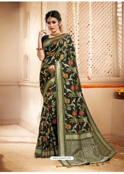 Black Designer Party Wear Heavy Silk Sari