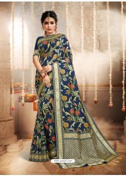 Dark Blue Designer Party Wear Heavy Silk Sari
