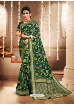 Dark Green Designer Party Wear Heavy Silk Sari