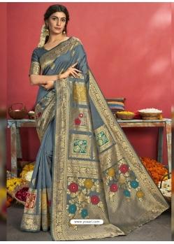 Grey Designer Party Wear Art Silk Sari