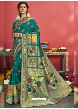 Teal Designer Party Wear Art Silk Sari