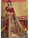 Maroon Designer Party Wear Art Silk Sari