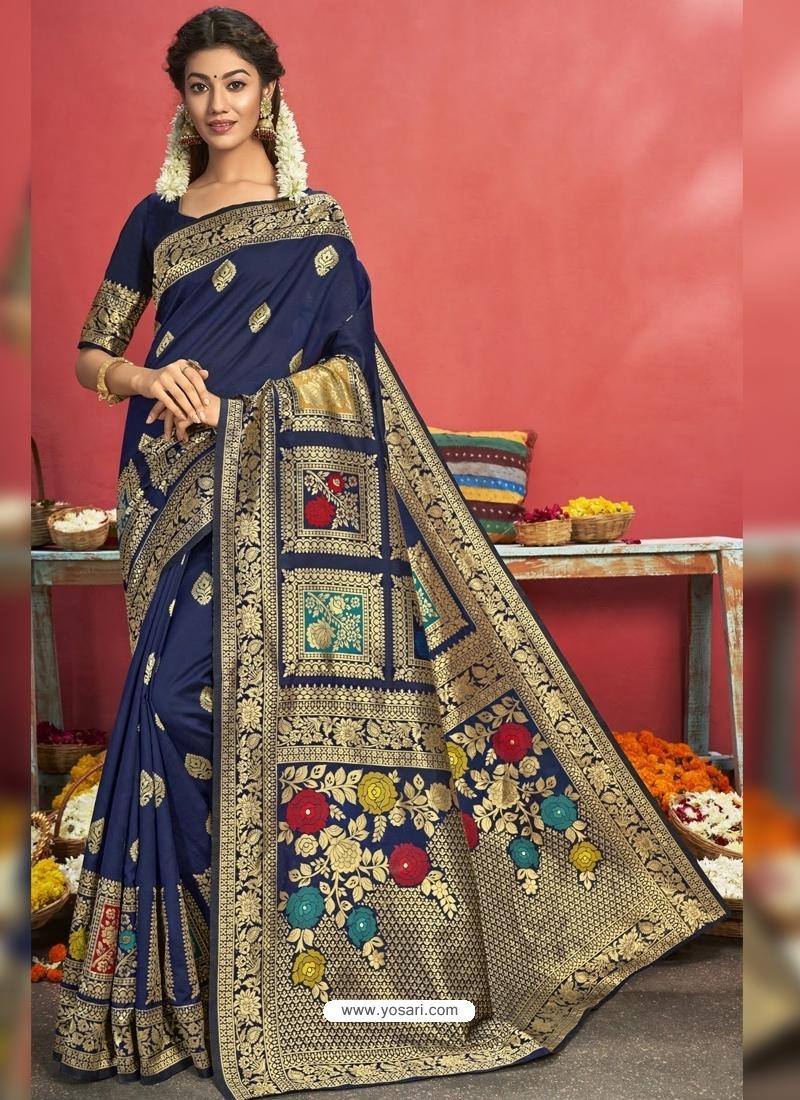 Navy Blue Designer Party Wear Art Silk Sari