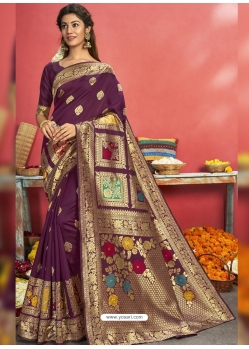 Purple Designer Party Wear Art Silk Sari