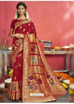 Tomato Red Designer Party Wear Art Silk Sari