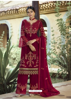 Maroon Designer Party Wear Palazzo Pakistani Suit
