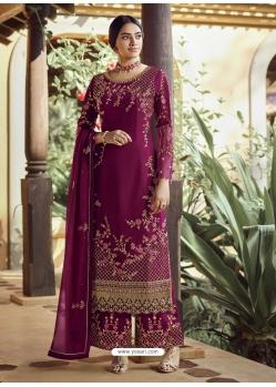 Medium Violet Designer Party Wear Palazzo Pakistani Suit