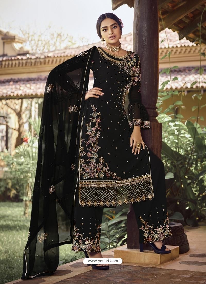 Black Designer Party Wear Palazzo Pakistani Suit
