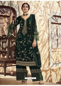 Dark Green Designer Party Wear Palazzo Pakistani Suit