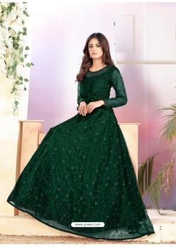 Dark Green Heavy Designer Net Aanarkali Suit