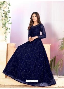 Navy Blue Heavy Designer Net Aanarkali Suit