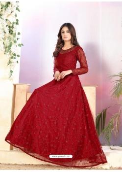 Maroon Heavy Designer Net Aanarkali Suit