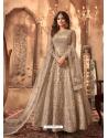 Gold Heavy Designer Butterfly Net Aanarkali Suit