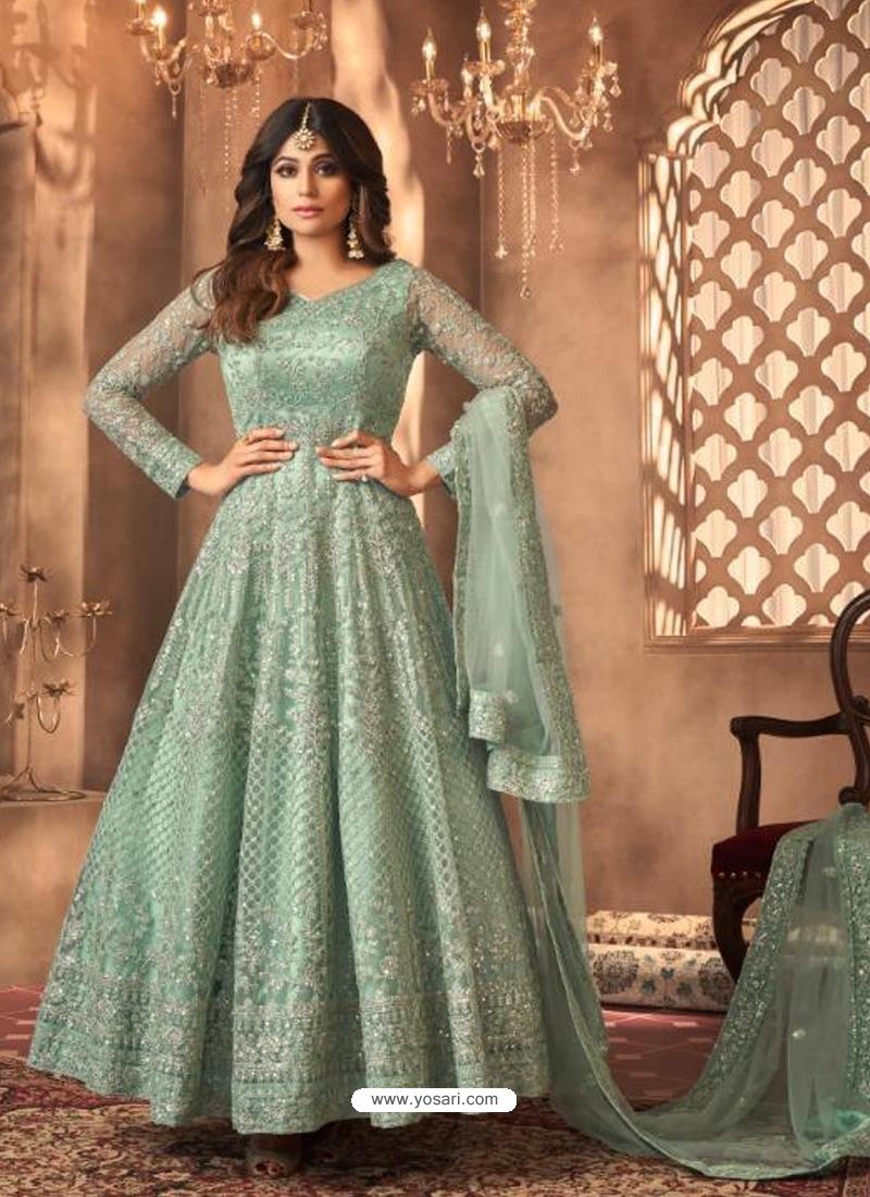Grayish Green Heavy Designer Butterfly Net Aanarkali Suit