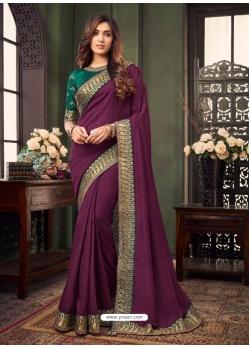 Purple Designer Party Wear Fancy Fabric Sari