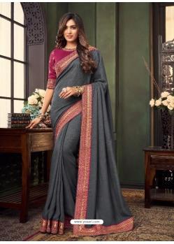 Grey Designer Party Wear Fancy Fabric Sari