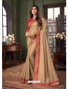 Beige Designer Party Wear Fancy Fabric Sari