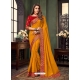 Mustard Designer Party Wear Fancy Fabric Sari
