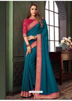 Teal Blue Designer Party Wear Fancy Fabric Sari