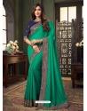 Jade Green Designer Party Wear Fancy Fabric Sari