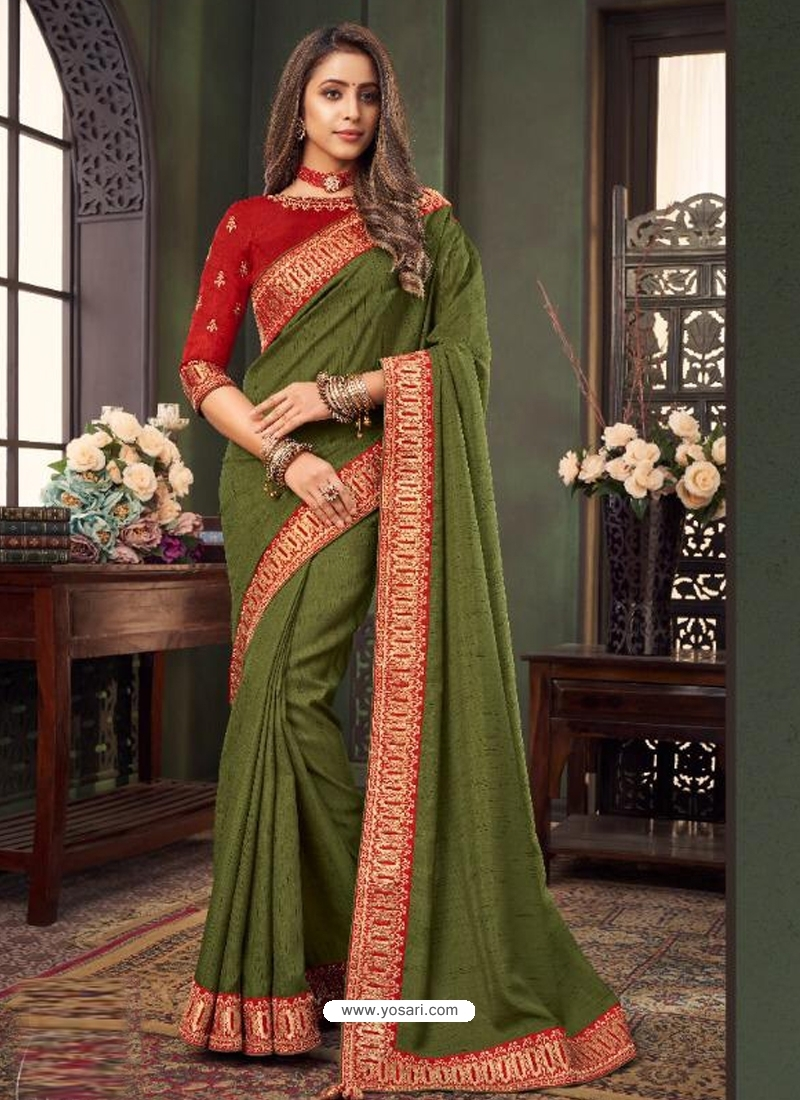 Mehendi Designer Party Wear Fancy Fabric Sari