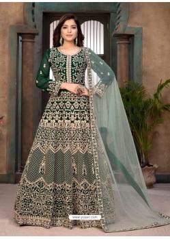 Dark Green Heavy Designer Faux Georgette Aanarkali Suit